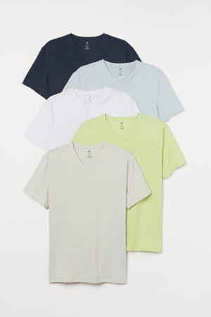 H&M Mężczyzna Z krótkim rękawem - T-shirt Slim Fit 5-pak
