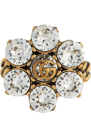 Gucci Double G floral embellished ring