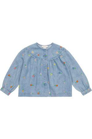 Stella McCartney Floral embroidered denim blouse