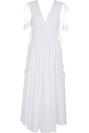 Tory Burch Kobieta Sukienki maxi - Smocked cotton poplin maxi dress