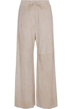 Brunello Cucinelli Wide-leg suede pants