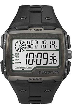 Timex Męska siatka Shock LCD/czarna tarcza z czarnym paskiem z żywicy pasek