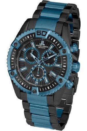 Jacques Lemans Męski chronograf kwarcowy Smart Watch zegarek na rękę z powłoką ze stali szlachetnej pasek 1-1805I