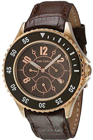 TIME FORCE Męski analogowy zegarek kwarcowy ze skórzanym paskiem TF3300L14