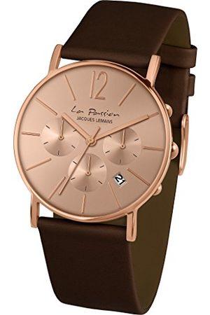 Jacques Lemans Unisex zegarek na rękę La Passion analogowy kwarcowy skóra bransoletka białe złoto