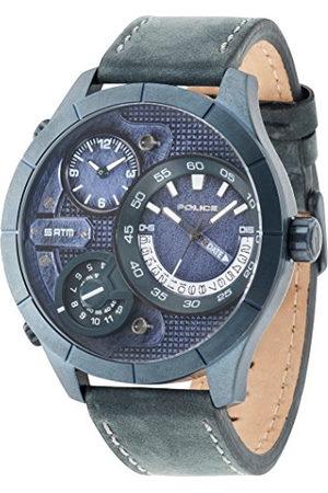 Police Męski zegarek kwarcowy z niebieskim wyświetlaczem analogowym i niebieskim skórzanym paskiem 14638XSUBL/03