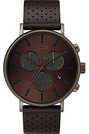 Timex Mężczyzna Zegarki - Męski analogowy zegarek kwarcowy z bransoletką z prawdziwej skóry TW2R80100