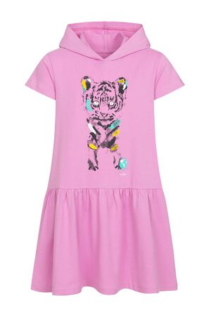 Endo Sukienki - Sukienka z krótkim rękawem i kapturem, z małym tygrysem, różowa, 9-13 lat