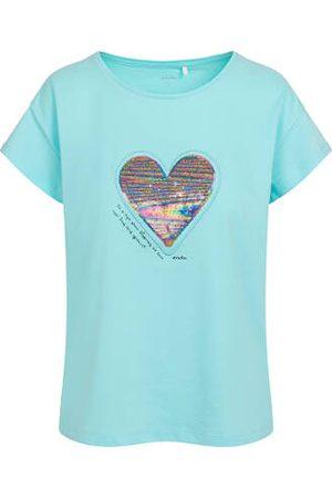 Endo T-shirt damski z sercem z cekinów, niebieski