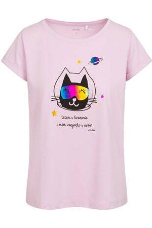 Endo T-shirt damski z kotem astronautą, różowy