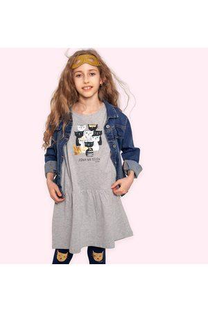 Endo Sukienka z krótkim rękawem, z kotami, szara, 9-13 lat