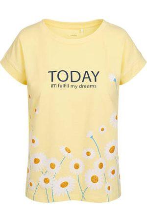 Endo Bluzki - T-shirt damski w stokrotki, żółty