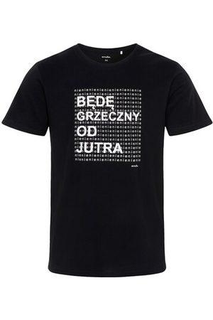 Endo Męski t-shirt z krótkim rękawem, z napisem będę grzeczny od jutra