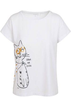 Endo T-shirt damski z kotem bohaterem, kremowy