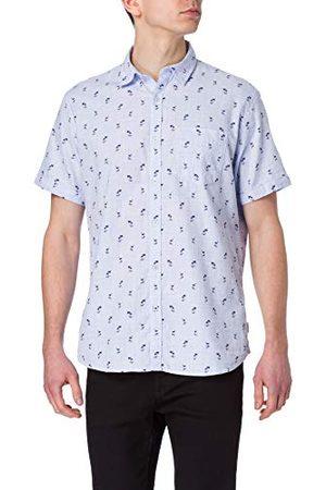 Pioneer Mężczyzna Koszule z krótkim rękawem - Męska koszula z krótkim rękawem w paski z kieszenią na piersi