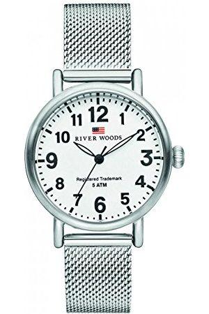 River Woods Damski zegarek na rękę, stal nierdzewna, milion bransoletka Silber/Weiß