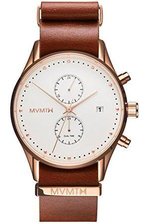 MVMT Mężczyzna Zegarki - Męski analogowy zegarek kwarcowy ze skórzanym paskiem ze skóry cielęcej D-MV01-RGNA2