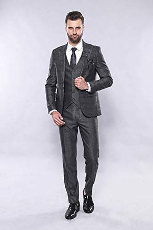 Wessi Mens szczupły krój w kratkę garnitur Suit-Dress Set, , 52
