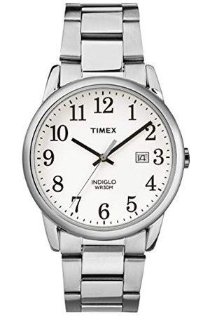 Timex Męski zegarek z Easy Reader Data 38 mm Bransoletka Silvertone/White