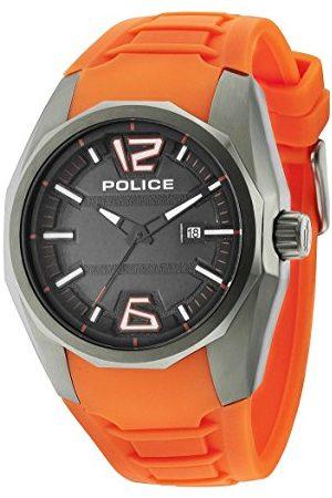 Police Mężczyzna Zegarki - Męski zegarek na rękę 47,5 mm pasek silikon Marine obudowa stal szlachetna bateria analogowy 14763JSU02