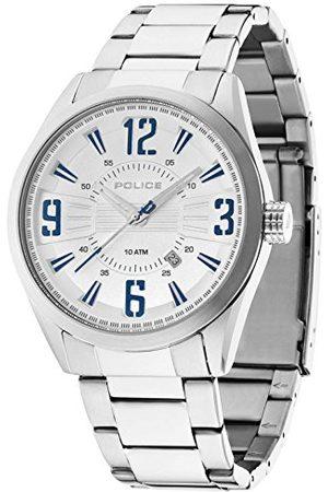Police Memphis męski zegarek kwarcowy ze srebrnym wyświetlaczem analogowym i srebrną bransoletką ze stali nierdzewnej 13893JS/04MA