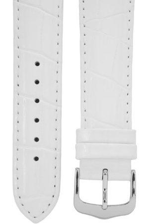 Cerberus Pasek do zegarka 18 mm skóra biała, wygląd krokodyla, długość 75 x 115 mm, aluminiowe zapięcie na trzpień