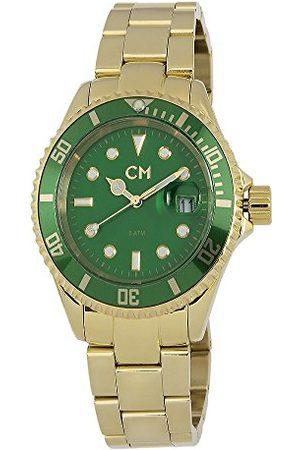 Carlo Monti Varese męski zegarek kwarcowy z zieloną tarczą analogową i pozłacaną bransoletką ze stali nierdzewnej CM507-299