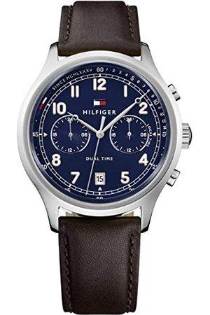 Tommy Hilfiger Męski data klasyczny zegarek kwarcowy ze skórzanym paskiem 1791385