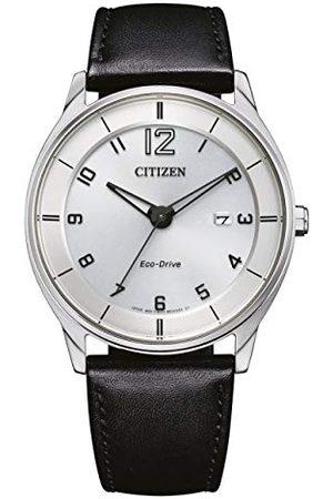 Citizen Męski analogowy zegarek Eco-Drive ze skórzanym paskiem BM7400-21A