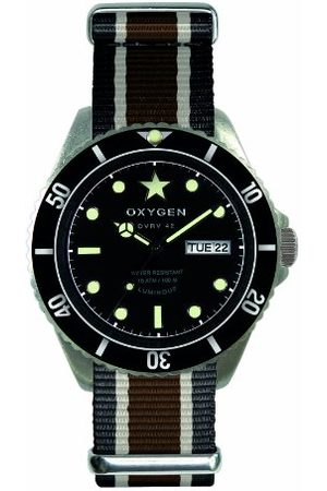 Oxygen Cygara kwarcowy zegarek unisex z czarnym cyferblat analogowy wyświetlacz i wielokolorowy nylonowy pasek