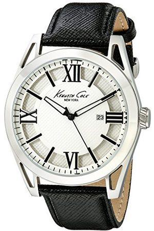 Kenneth Cole Męski analogowy zegarek kwarcowy ze skórzanym paskiem IKC8072_BLANCO