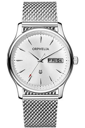 ORPHELIA Męski zegarek na rękę Milanese analogowy z siateczką ze stali szlachetnej Pasek srebro