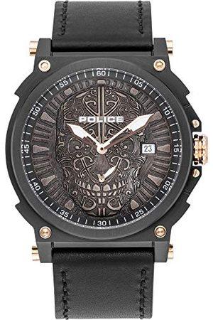 Police Zegarki - Unisex zegarek kwarcowy dla dorosłych, analogowy zegarek kwarcowy ze skórzaną bransoletką PL15728JSB.02