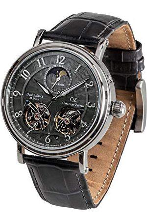 CARL VON ZEYTEN Męski analogowy automatyczny zegarek ze skórzanym paskiem CVZ0054GY