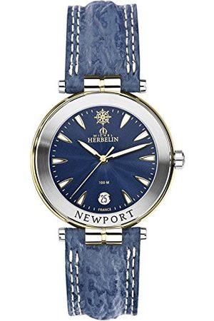 Michel Herbelin Uniseks dla dorosłych analogowy zegarek ze skórzanym paskiem 12255/T35