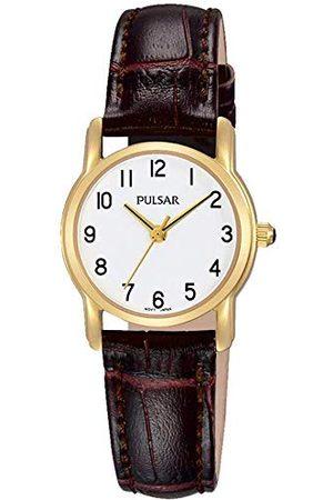 Pulsar Kobieta Zegarki - Kwarcowy zegarek damski ze złotą nakładką i skórzanym paskiem PH8262X1