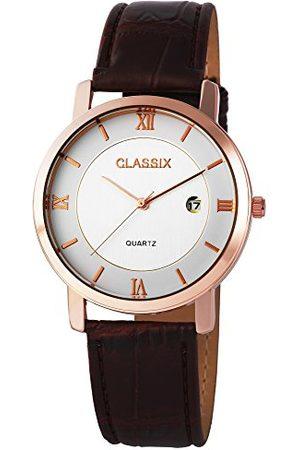 CLASSIX Męski analogowy zegarek kwarcowy ze skórzanym paskiem RP310320002