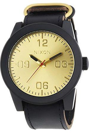 Nixon Męski zegarek na rękę XL Corporal Black Gold analogowy kwarcowy skóra A243010-00