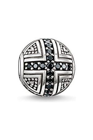 Thomas Sabo Damski męski koralik bohater Karma Beads srebro 925 wysokiej próby poczerniane cyrkonia czarna K0030-051-11