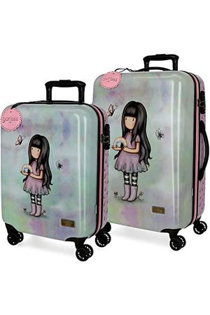 Gorjuss Dziewczynka Walizki - Santoro Somewhere zestaw walizek wielokolorowych 55/67 cm, twarda obudowa z tworzywa ABS, zamek TSA, 78,39 l, 4 podwójne koła, bagaż podręczny
