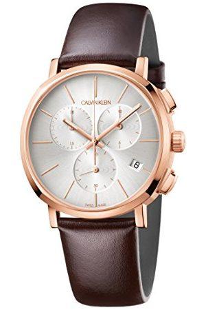 Calvin Klein Mężczyzna Zegarki - Męski chronograf kwarcowy zegarek ze skórzanym paskiem K8Q376G6