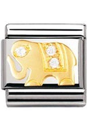 Nomination Kompozycyjne klasyczne zwierzęta ziemia biały słoń stal nierdzewna, 18-karatowe złoto i cyrkonia sześcienna