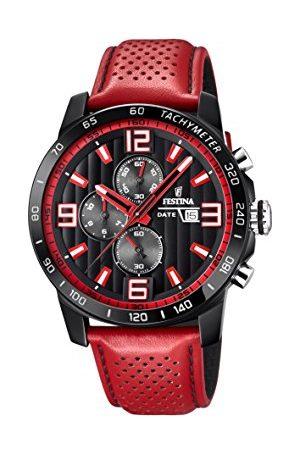 Festina The Originals Collection' męski zegarek kwarcowy z czarną tarczą chronografem i czerwonym skórzanym paskiem F20339/5
