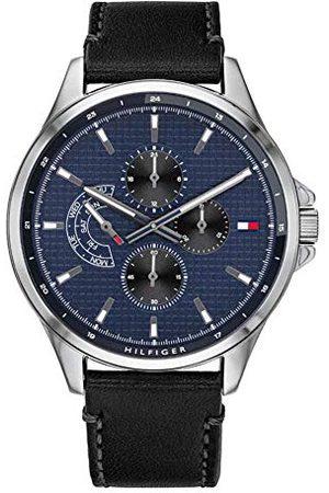 Tommy Hilfiger Męski wielofunkcyjny zegarek kwarcowy ze skórzanym paskiem 1791616