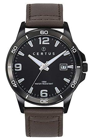 Certus Męski analogowy zegarek kwarcowy ze skórzanym paskiem 611099