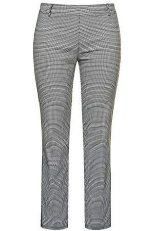 Ulla Popken Damskie rozmiary, Bengalin z delikatnym wzorem w kratkę i boczną spaselką, spodnie Sarah