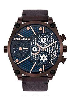 Police Zegarki - Unisex dla dorosłych analogowy zegarek kwarcowy ze skórzanym paskiem PL15381JSBZ.03