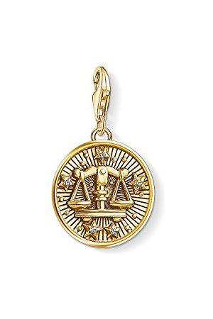 Thomas Sabo Mężczyzna Bransoletki - Damski męski wisiorek charm, znak zodiaku, waga Charm Club, srebro wysokiej próby 925, pozłacane 1658-414-39