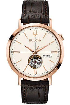 BULOVA Męski analogowy klasyczny automatyczny zegarek ze skórzanym paskiem 97A136