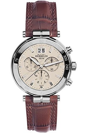 Michel Herbelin Zegarki - Unisex Dorośli zegarek chronograf ze skórzanym paskiem 36654/AP17MA
